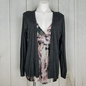 Apt. 9 Gray Floral Attached Knit Sweater Blouse